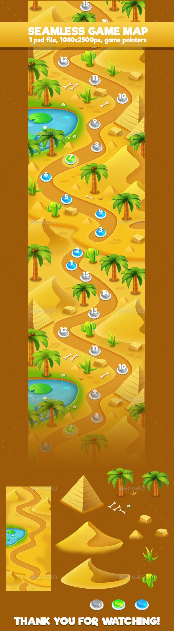 Seamless Desert Game Map - Backgrounds Game Assets