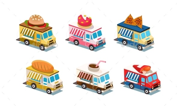 Flat Vector Set of Food Trucks - Man-made Objects Objects