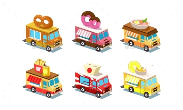 Flat Vector Set of Isometric Food Trucks - Food Objects