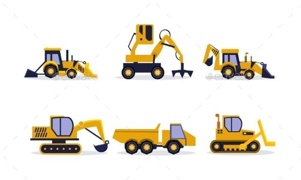 Flat Vector Set of Construction Equipment - Miscellaneous Vectors