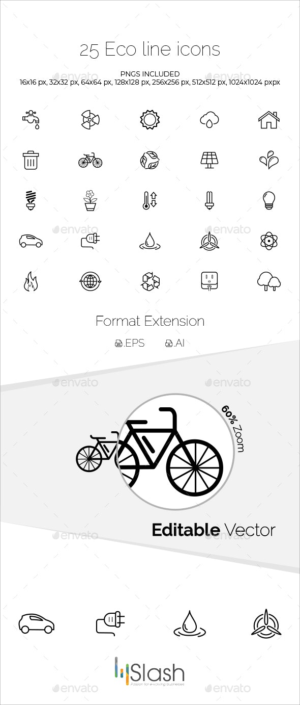 25 Eco Line Icons - Icons