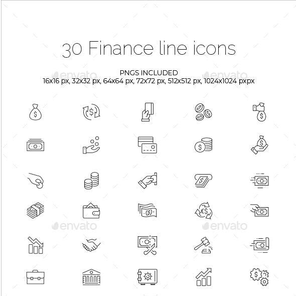 30 Finance Line Icons