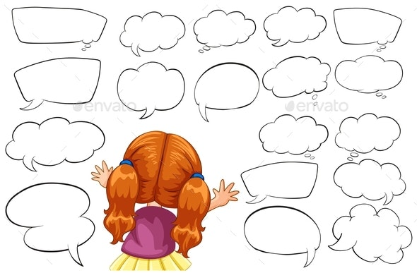 Girl and Different Shapes of Speech Bubbles - People Characters