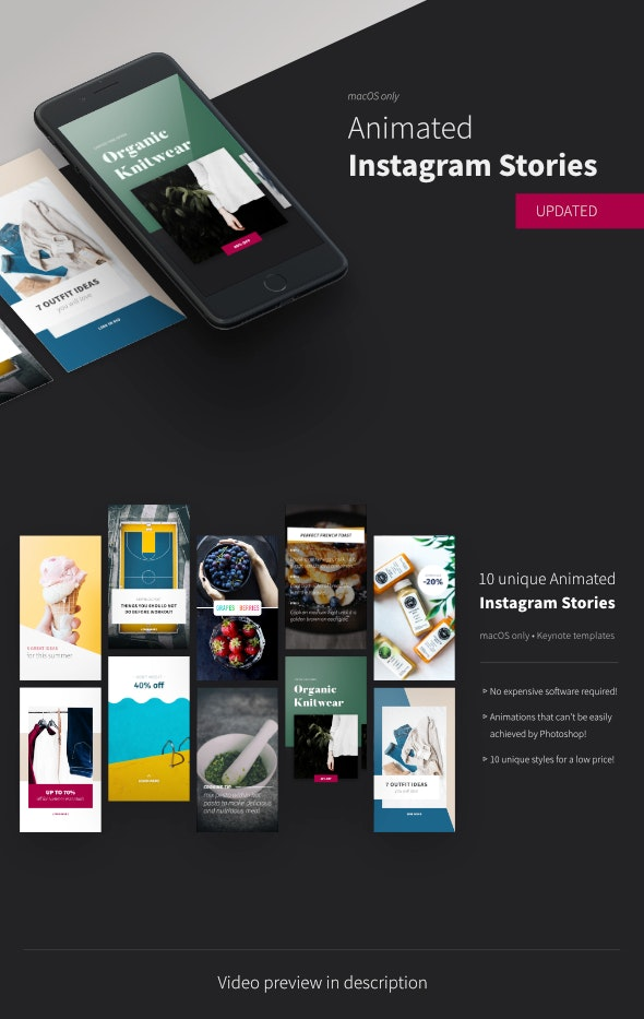 Animated Instagram Stories • Keynote Template - Miscellaneous Keynote Templates