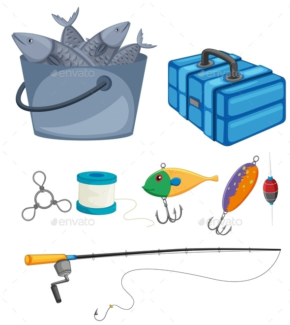 Fish in Bucket and Fishing Set - Sports/Activity Conceptual