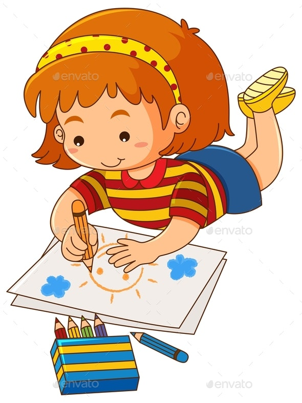 Little Girl Drawing Sun on Paper - People Characters