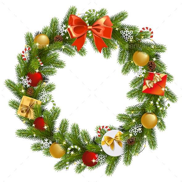 Vector Christmas Fir Wreath - Christmas Seasons/Holidays
