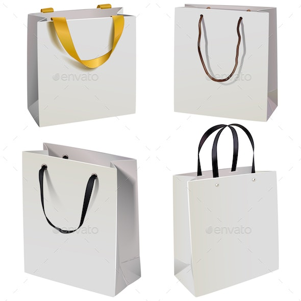 Vector Paper Bag Icons - Retail Commercial / Shopping