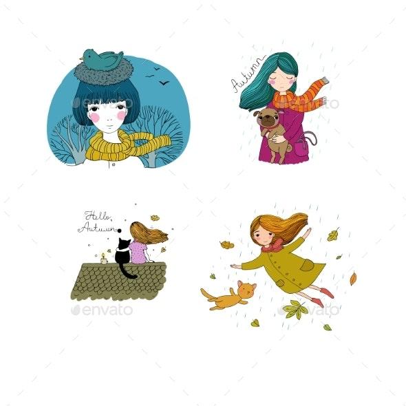 Set with Autumn Pictures - Miscellaneous Vectors