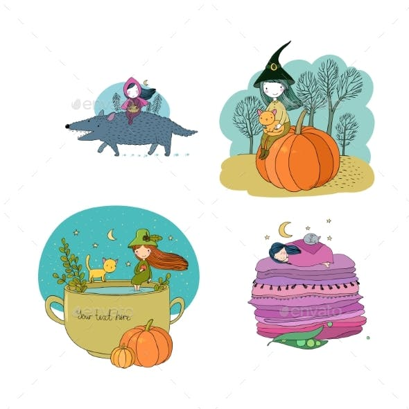Set with Autumn Pictures