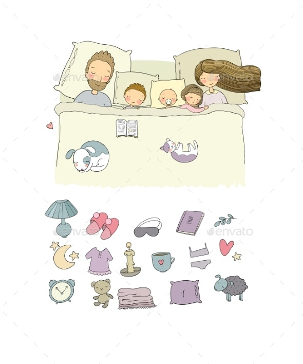 Mom Dad and Children Sweet Dreams - People Characters