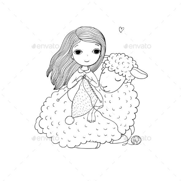 Knitting Girl and a Cartoon Sheep - Animals Characters