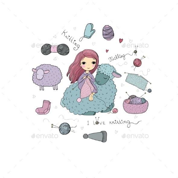 Knitting Girl and a Cartoon Sheep