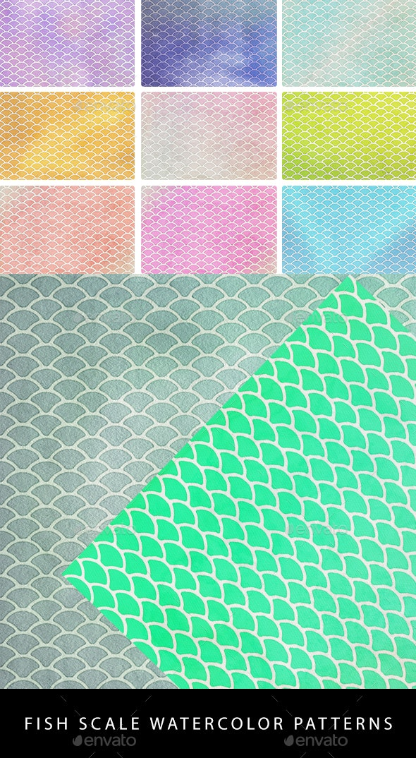 22 Fish Scales Watercolor Patterns - Patterns Backgrounds