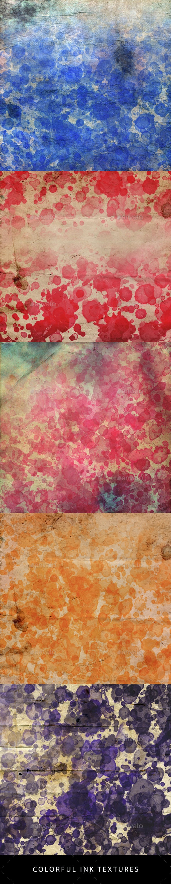Colorful Ink Textures - Backgrounds Graphics
