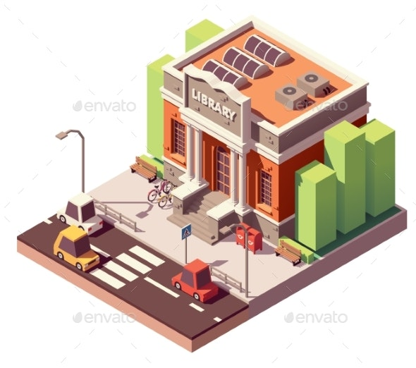 Vector Isometric Library Building - Buildings Objects