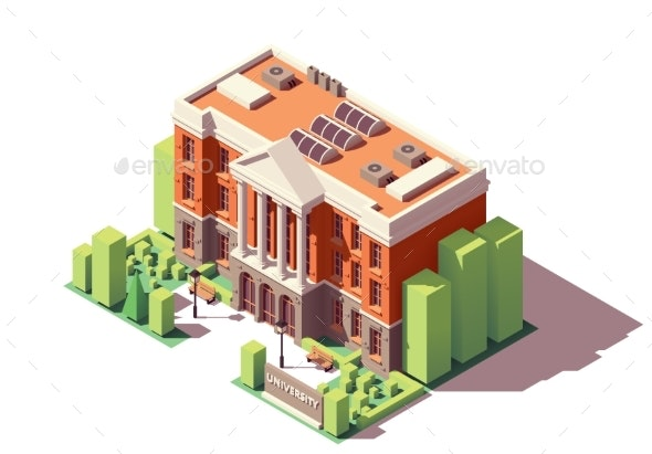 Vector Isometric University Building - Buildings Objects