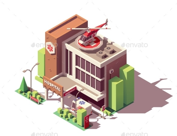 Vector Isometric Hospital Building - Buildings Objects