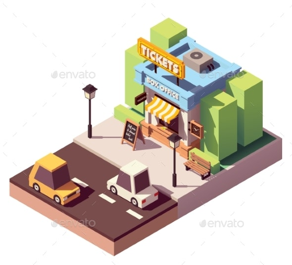 Vector Isometric Ticket Office Building - Buildings Objects