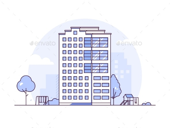Urban Landscape - Modern Thin Line Design Style - Buildings Objects
