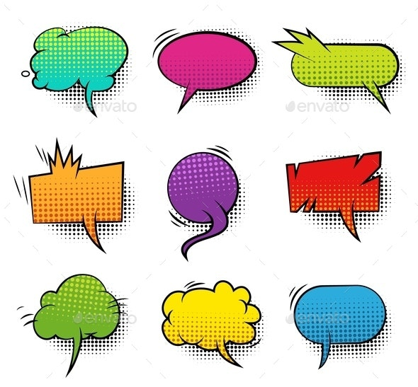 Comic Colorful Blank Speech Bubbles Collection - Abstract Conceptual