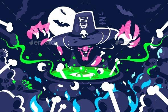 Halloween Witch Preparing Magic Potion in Cauldron - Halloween Seasons/Holidays