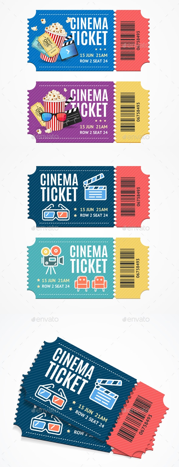 Cinema Movie Tickets Set with Elements - Man-made Objects Objects