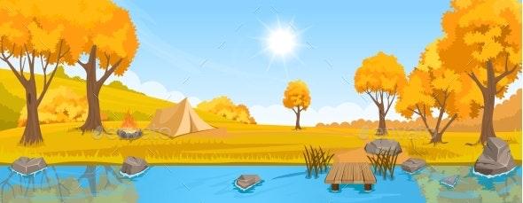 Autumn Rural Landscape with Hills and River - Landscapes Nature