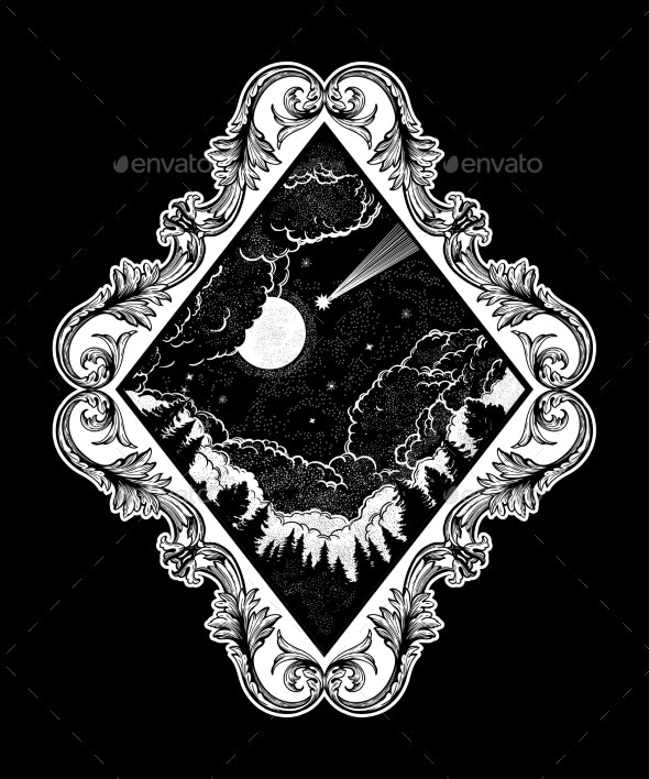 Forest and Night Sky in the Shape of a Rhombus - Landscapes Nature