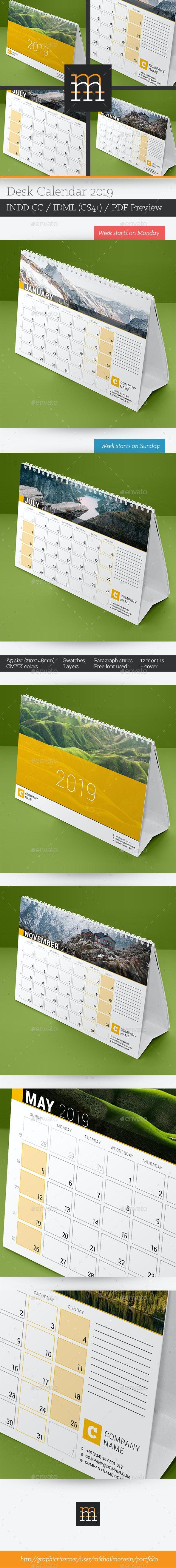 Desk Calendar 2019 - Calendars Stationery