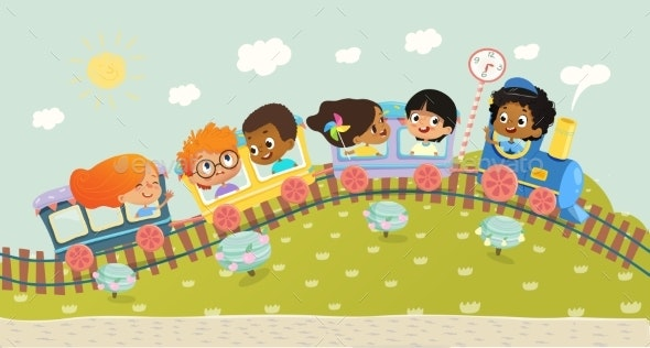 Illustration of the Multiracial Kids on Trip - Miscellaneous Vectors