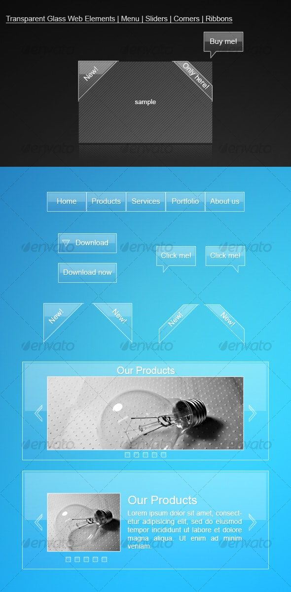 Transparent Glass Web Elements | Menu | Sliders | - Web Elements