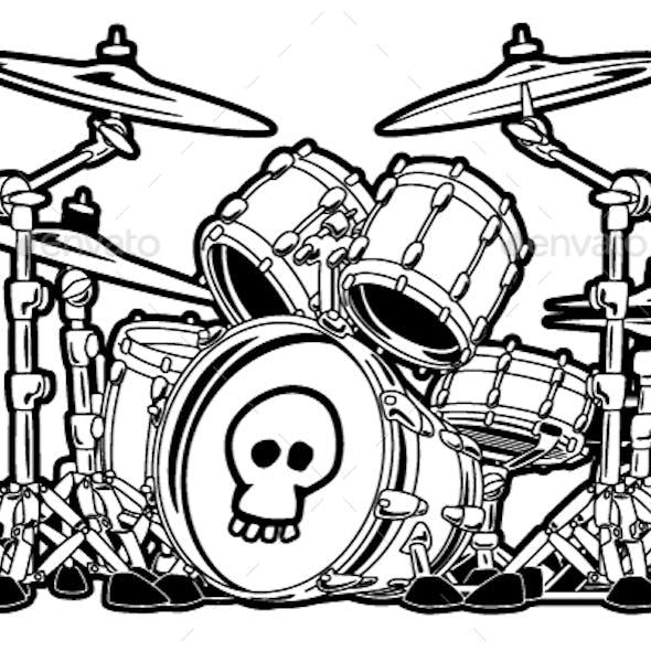 Rock Drum Set Cartoon Vector Illustration