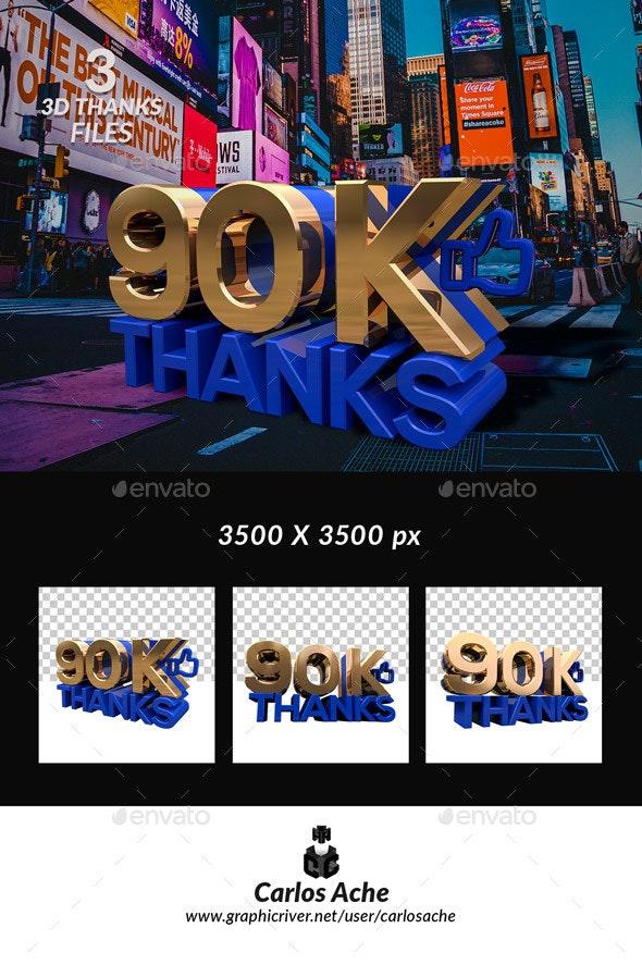 Facebook Like 90k - Text 3D Renders
