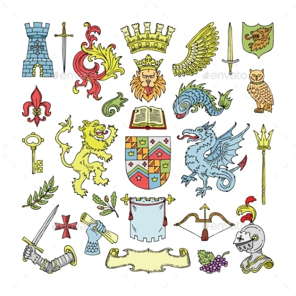 Herald Vector Heraldic Shield and Heraldry Vintage - Miscellaneous Vectors