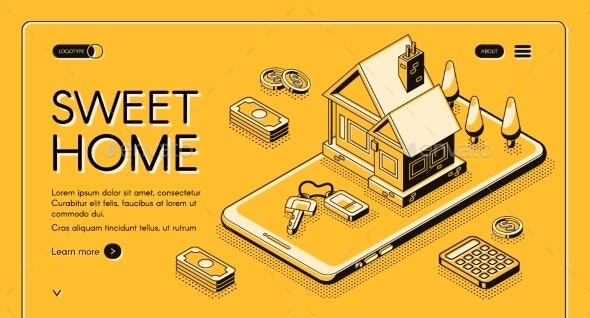 Real Estate Home Online Buy Vector Halftone Line - Buildings Objects