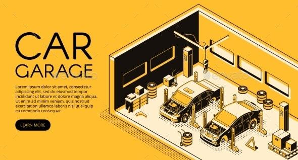 Car Repair Garage Service Vector Isometric - Industries Business