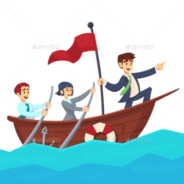 Businessman with Leader Red Victory Flag Lead - People Characters