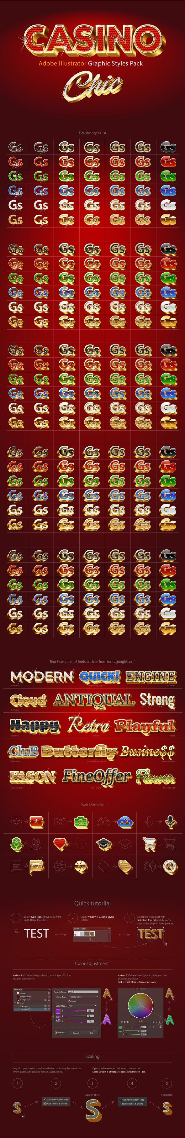 Adobe Illustrator Graphic Styles Extra Gold 3D - Styles Illustrator