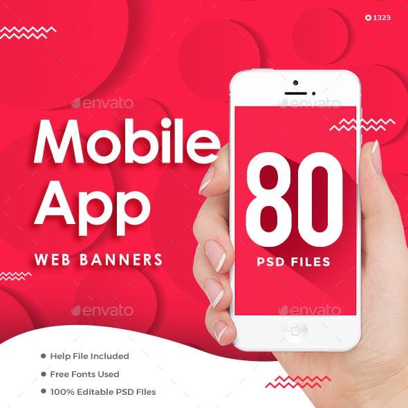 Mobile App Web Banner Set Bundle - 5 Sets - 80 Banners - Banners & Ads Web Elements
