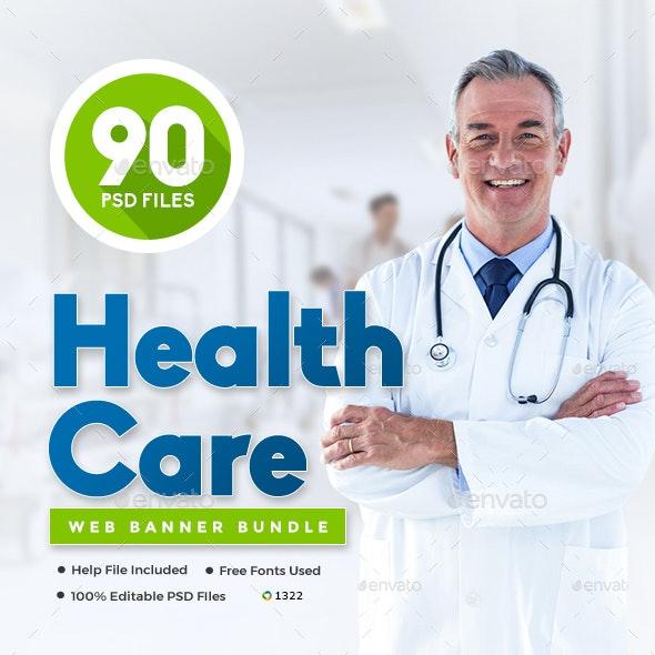 Health Care Web Banners Set Bundle - 5 Sets - 90 Banners - Banners & Ads Web Elements
