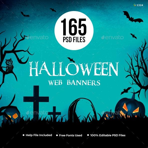 Halloween Web Banner Set Bundle - 10 Sets - 165 Banners - Banners & Ads Web Elements