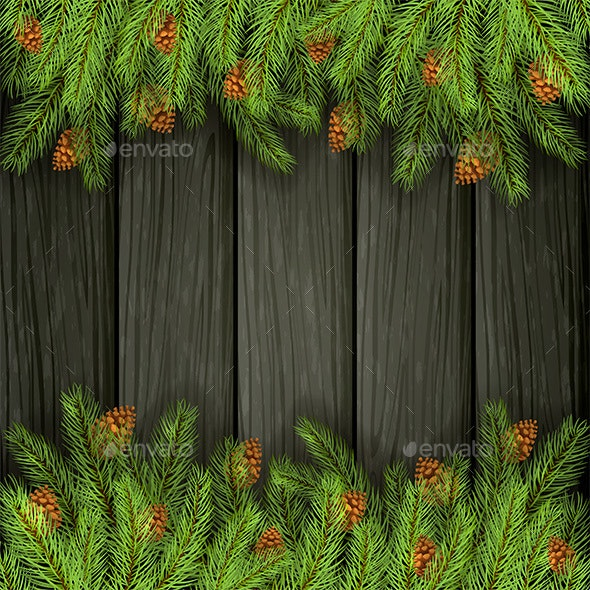 Black Wooden Background with Fir Tree Branches - Christmas Seasons/Holidays