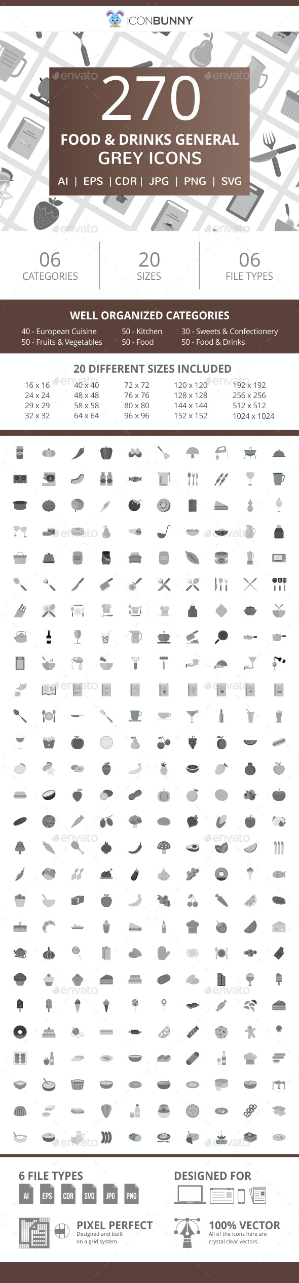 270 Food & Drinks General Flat Greyscale Icons - Icons