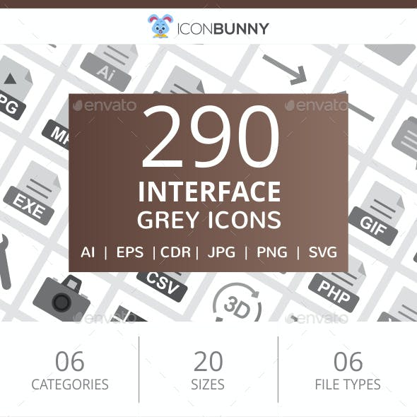 290 Interface Flat Greyscale Icons