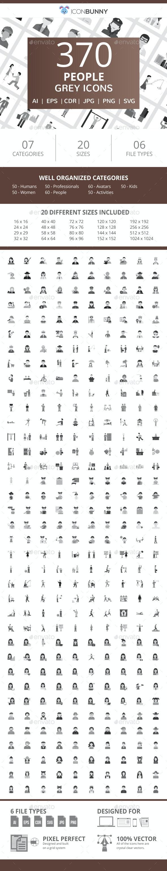 370 People Flat Greyscale Icons - Icons