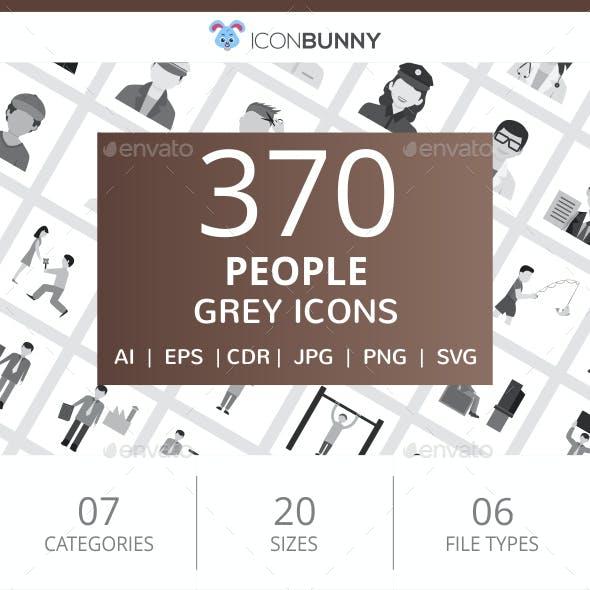 370 People Flat Greyscale Icons
