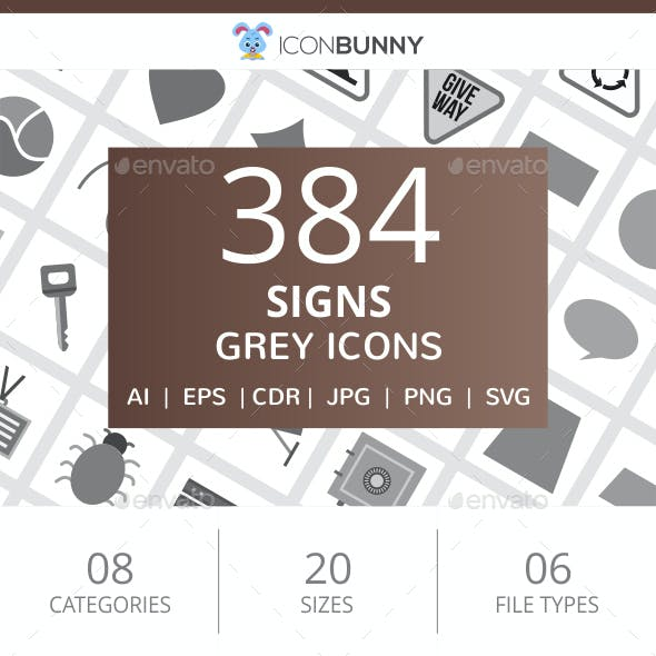 384 Sign Flat Greyscale Icons