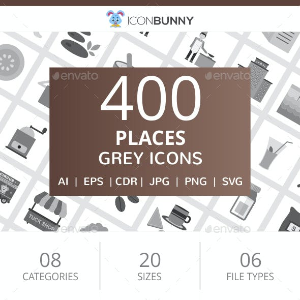 400 Places Flat Greyscale Icons