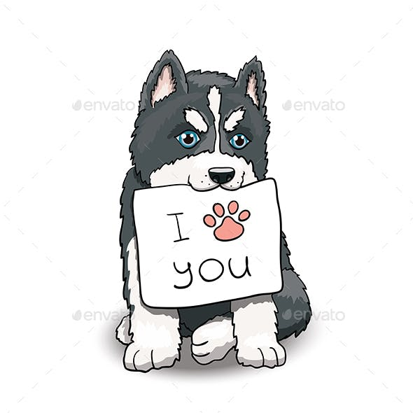 Husky Puppy With I Love You Sign